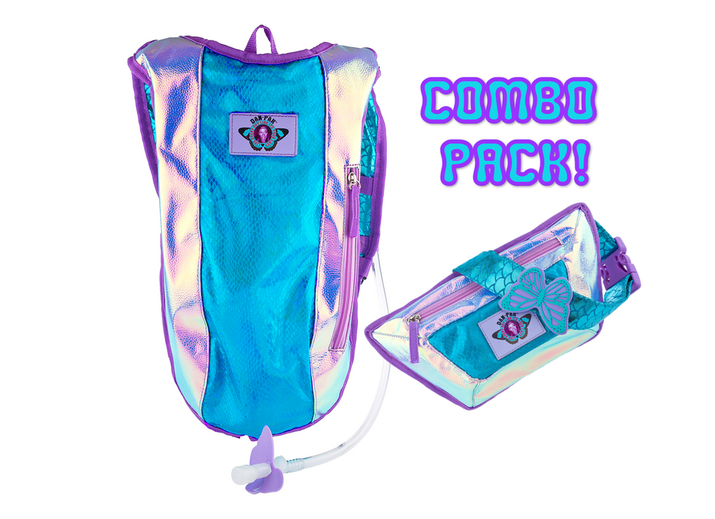 Plurmaid Hydration Pack & Fanny Pack Set - Dan-Pak hydration packs for raves music festivals camping hiking. Awesome gear for edm lifestyle. Hydro pack, water pack, dan-pack, dan pak, dan pack, danpakbags, dan pak bags, backpack, rave