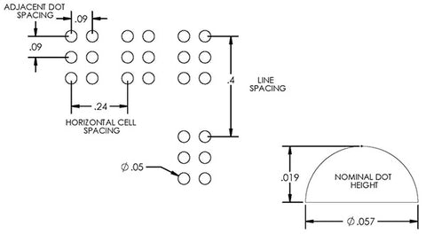 Perkins Electric Brailler schematic showing dot spacing and height.
