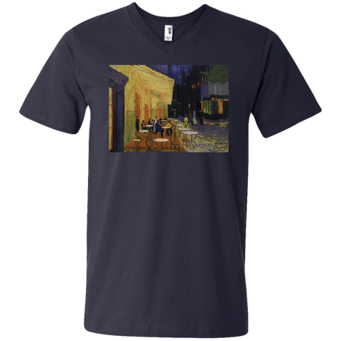 Cafe Terrace 982 Anvil Men's Printed V-Neck T-Shirt