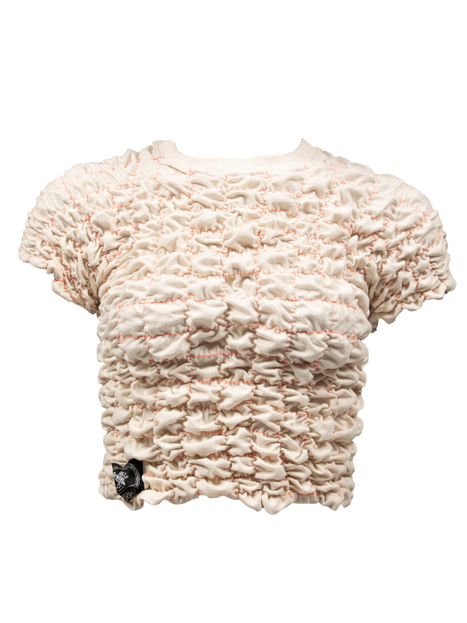 Scrunchie top - Beige w/ Coral colored thread