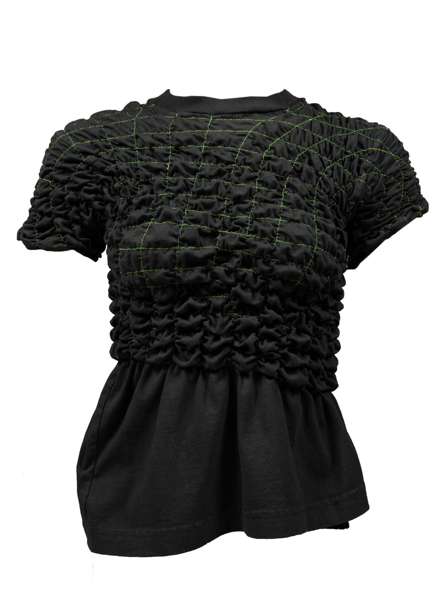 Scrunchie Peplum Top in Black