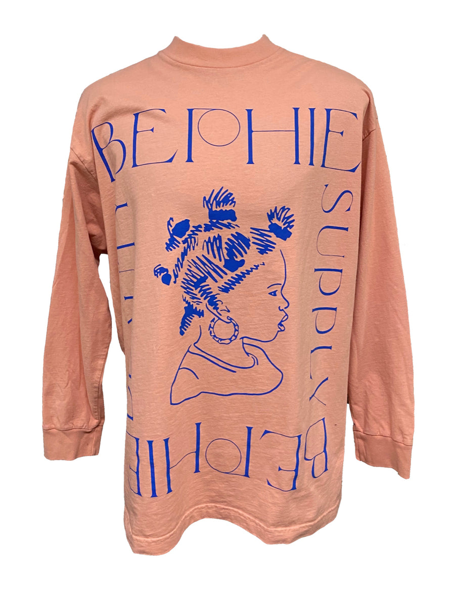 Coral Pink Long Sleeve Stamp Tee tee in XXL only