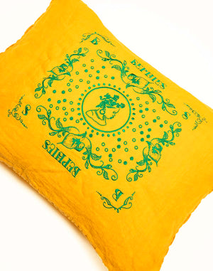 Decorative Pillow feat. Anthurium Bephie Girl Embroidery on 2 Sides - Yellow Gold