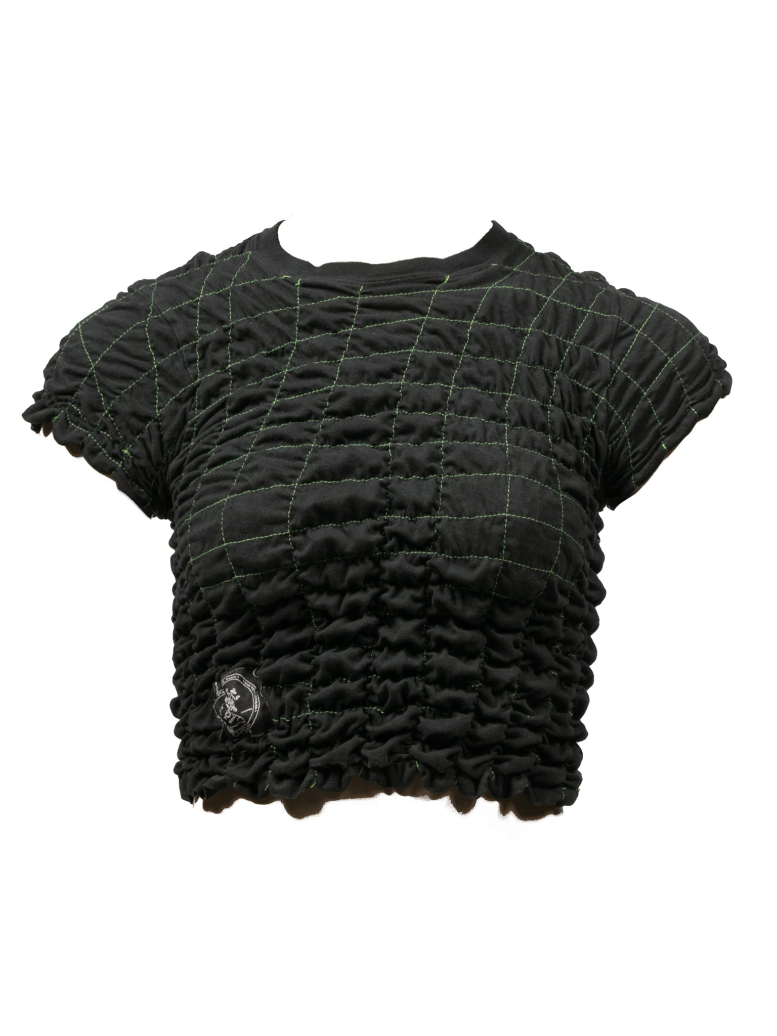 Scrunchie Crop Top - Black w/ green thread