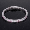 9.7Ct Princess Cut 7in CZ Pink and Clear Rhodium Bracelet