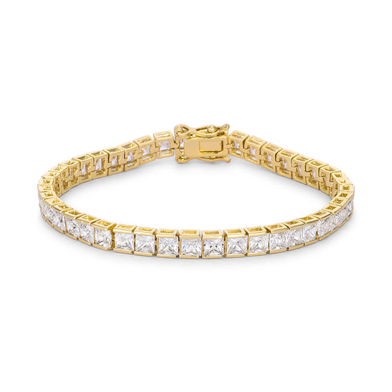 Princess Cut CZ Gold Tone Tennis Bracelet