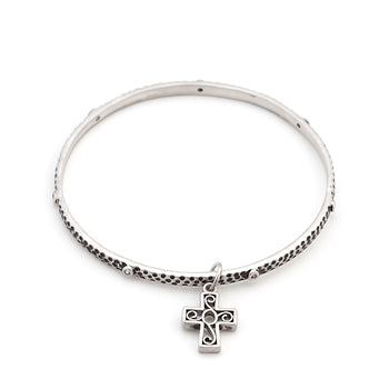 Solitaire Cross Charm Bangle