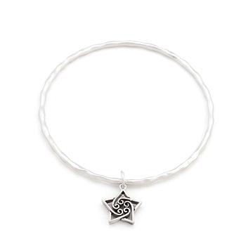 Solitaire Twirling Star Charm Bangle
