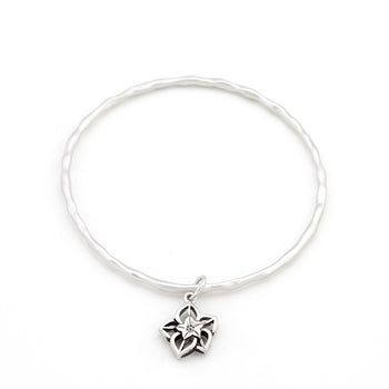 Solitaire Filigree Flower Charm Bracelet