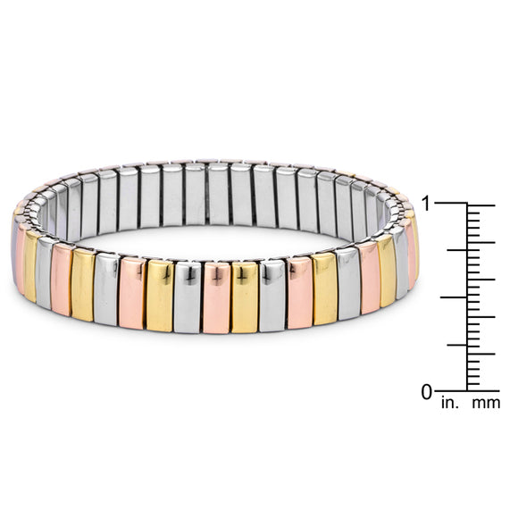 Tri-tone Stainless Steel Stretch Bracelet