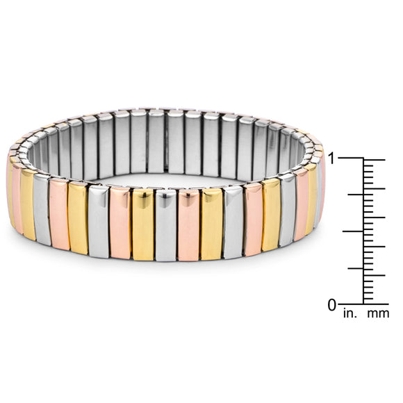 Tri-tone 14mm Stainless Steel Stretch Bracelet