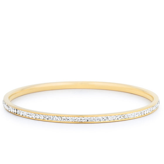 Simple Goldtone Finish Crystal Bangle