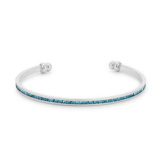 Channel-Set Aqua Cubic Zirconia Cuff