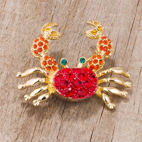 Gold Tone and Red Crab Brooch With Crystals