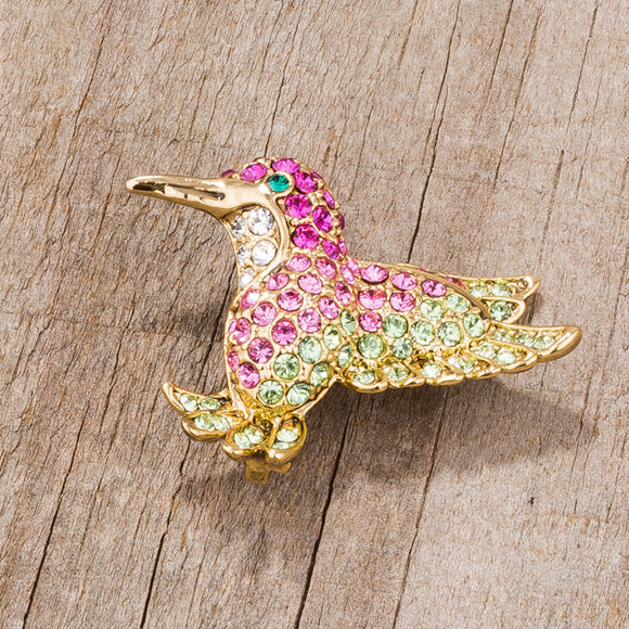 Multicolor Pink Humming Bird Brooch With Crystals