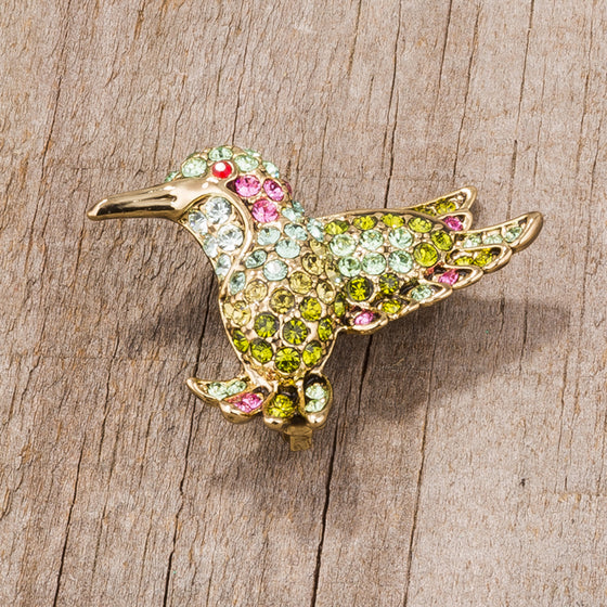 Multicolor Green Humming Bird Brooch With Crystals ...
