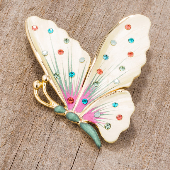 Multicolor Gold Tone Butterfly Brooch With Crystals