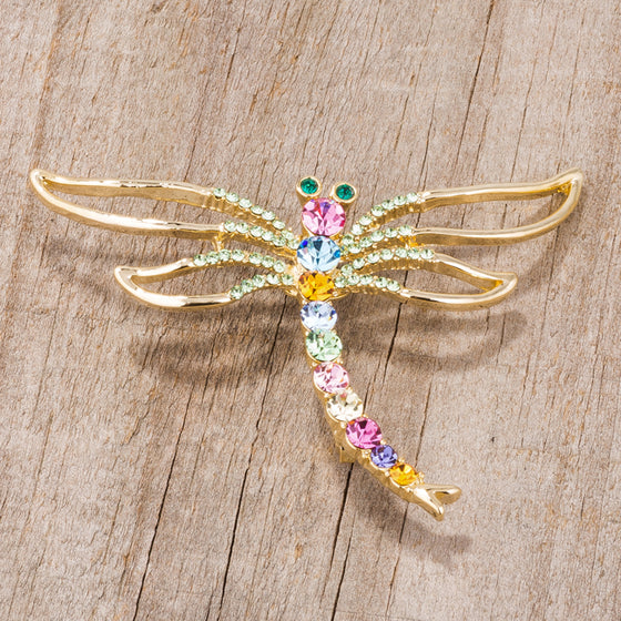 Gold Tone Multicolor Dragonfly Brooch With Crystals