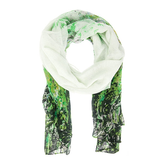 Green Mona Watercolor Floral Scarf