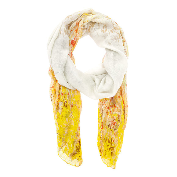 Yellow Mona Watercolor Floral Scarf