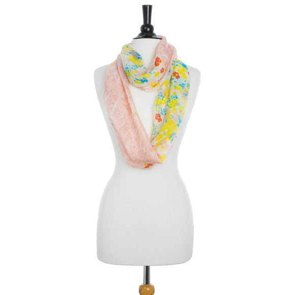 Sora Peach Floral Meadow Print Infinity Scarf