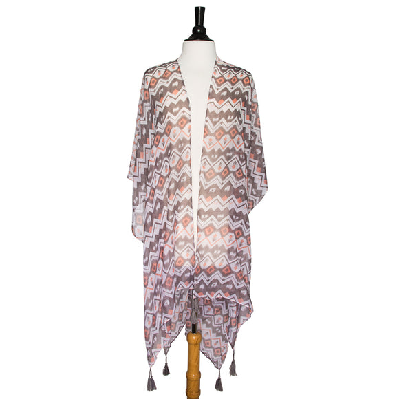 Grey Gena Geometric Print Shawl Cover Up With Tassels