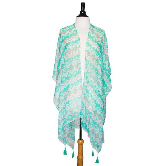Mint Gena Geometric Print Shawl Cover Up With Tassels