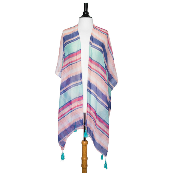Multicolored Magdelena Striped Cover Up Shawl With Tassels