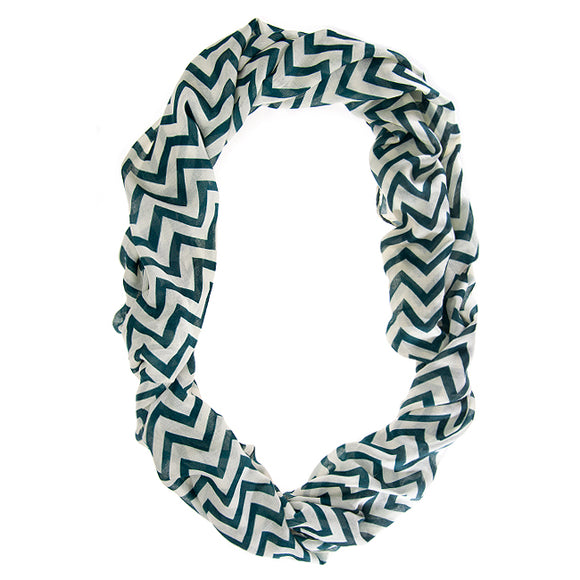 Striped Green Infinity Scarf