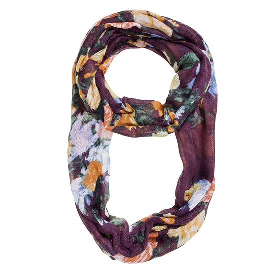 Purple Aria Floral Infinity Scarf