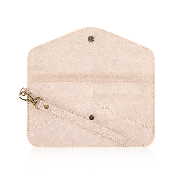 Nyla Blush Faux Leather Clutch