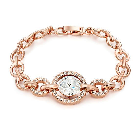 Linked Bracelet with Crystals From Swarovski (Rose Gold)