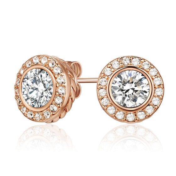 Earrings with Crystals From Swarovski (Rose GoldEarrings Embellished with Crystals from Swarovski (Rose Gold)