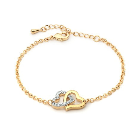 Dual Hearts Bracelet With Swarovski Crystals