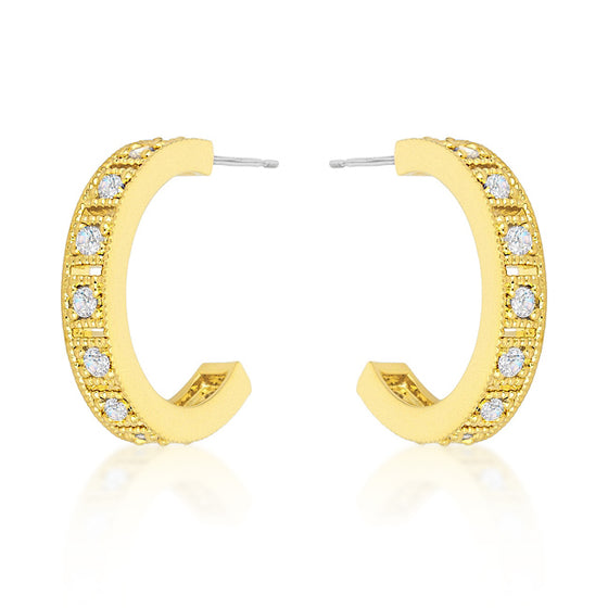 Roma Goldtone Finish Hoop Earrings