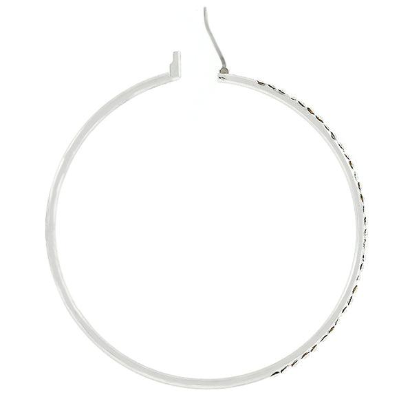 2 Inch Silvertone Finish Cubic Zirconia Hoop Earrings