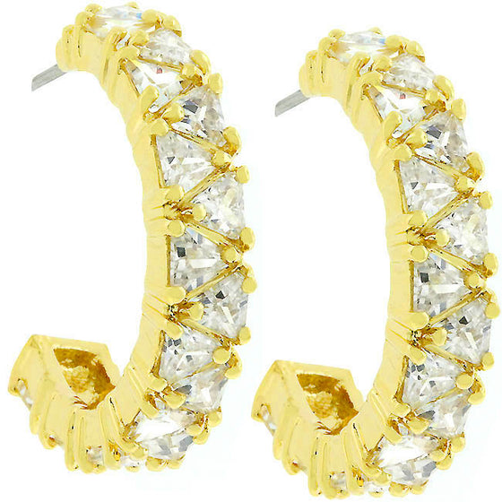Trillion Cut Cubic Zirconia Hoop Earrings Goldtone Finish