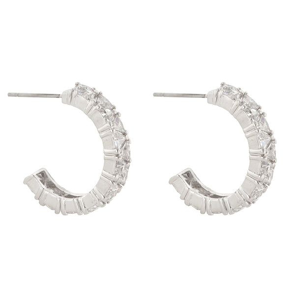 Trillion Cut Cubic Zirconia Hoop Earrings