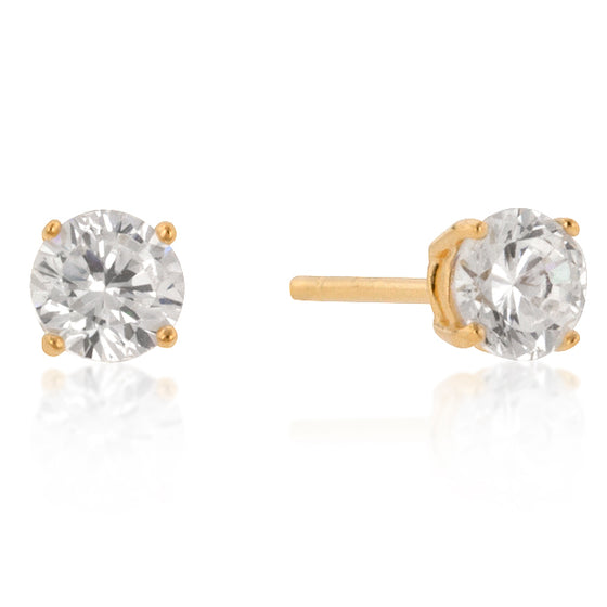 5mm New Sterling Round Cut Cubic Zirconia Studs Gold
