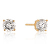6mm New Sterling Round Cut Cubic Zirconia Studs Gold