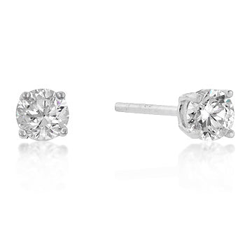 4mm New Sterling Round Cut Cubic Zirconia Studs Silver