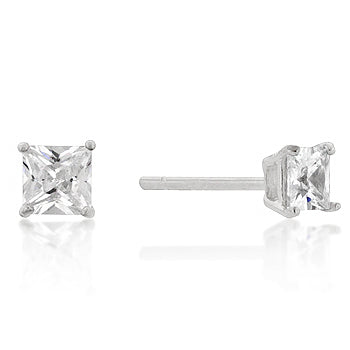 4mm New Sterling Princess Cut Cubic Zirconia Studs Silver