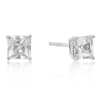 5mm New Sterling Princess Cut Cubic Zirconia Studs Silver