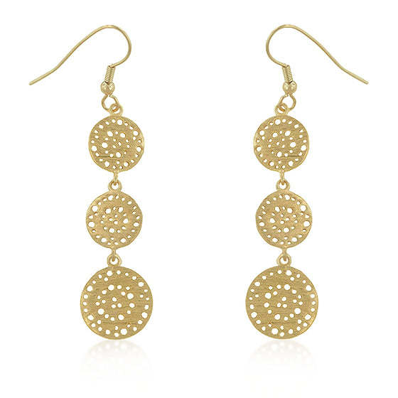 Golden Filigree Circle Earrings