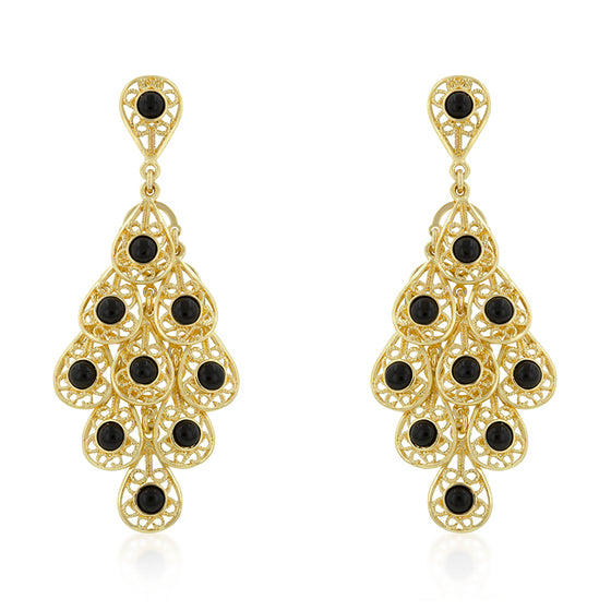 Onyx Filigree Chandelier Earrings