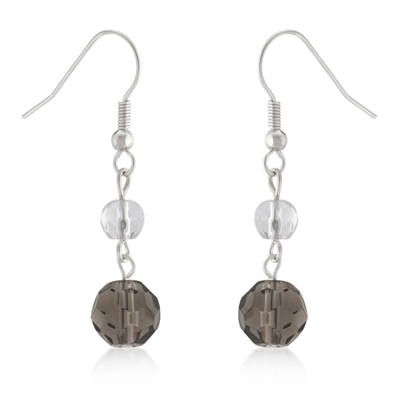 Smokey and Clear Simulated Crystal Dangle Earrings