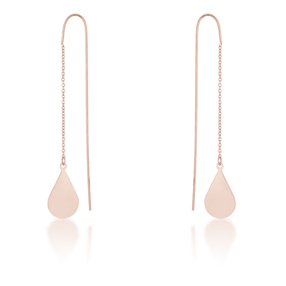 Chloe Rose Gold Stainless Steel Teardrop Threaded Drop Earrings
