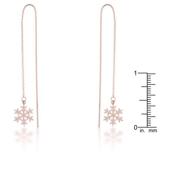Noelle Rose Gold Stainless Steel Snowflake Threaded Drop Earrings
