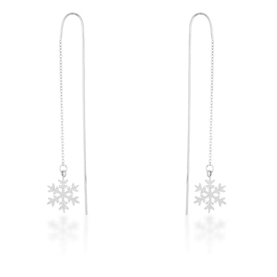 Noelle White Gold Rhodium Stainless Steel Snowflake Threaded Drop Earrings