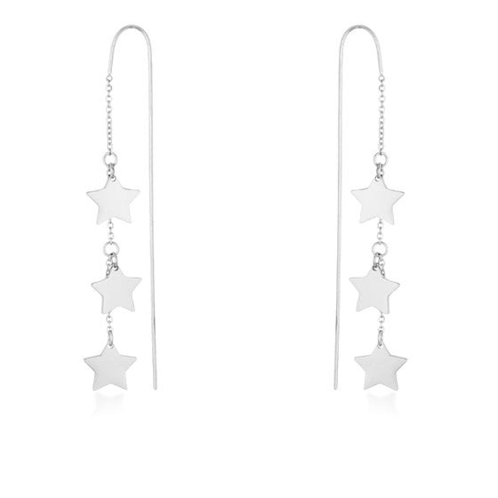 Reina White Gold Rhodium Stainless Steel Delicate Star Threaded Drop Earrings